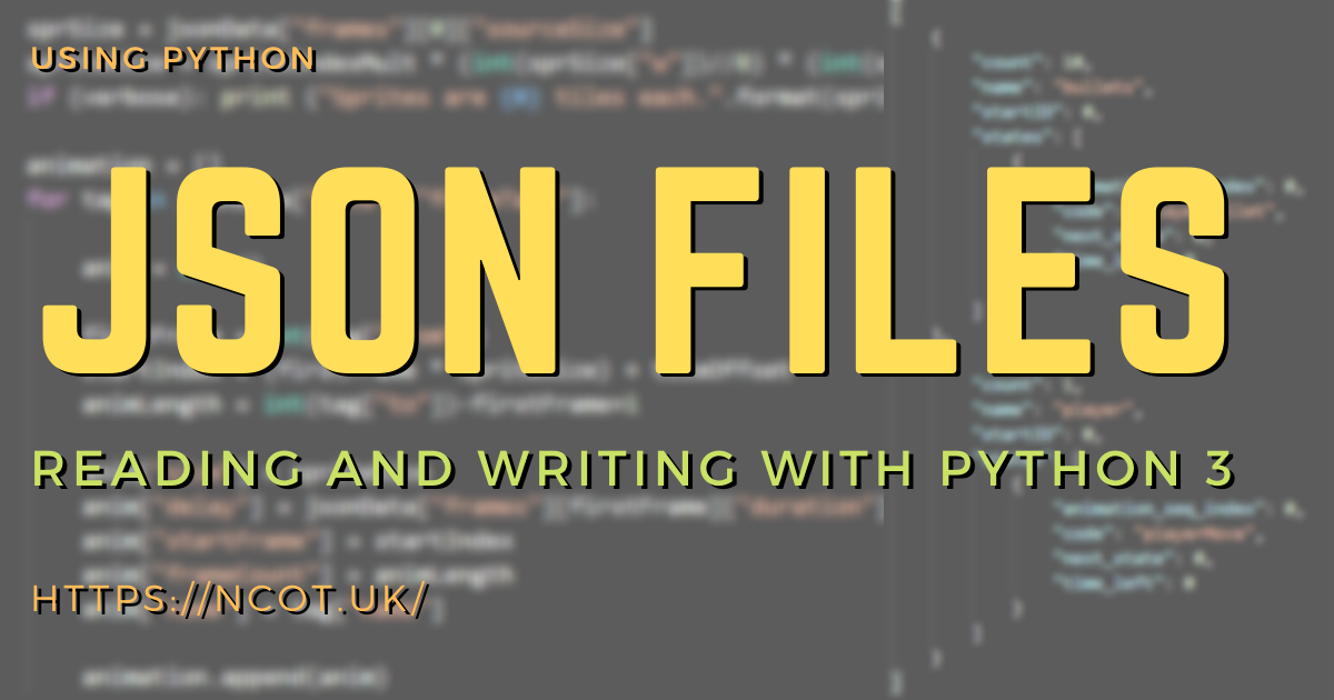Reading and Writing JSON using Python